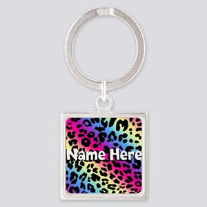 Personalized Rainbow Leopard Square Keychain