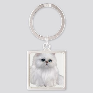 Cute white Persian Cat Keychains