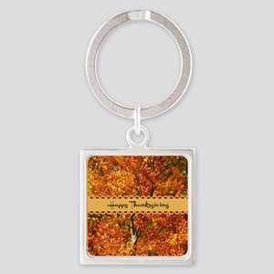 Happy Thanksgiving - Autumn Colors Square Keychain