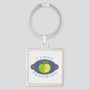 I Love Teaching apple quote Square Keychain