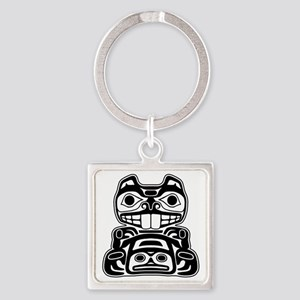 Native American Beaver Square Keychain
