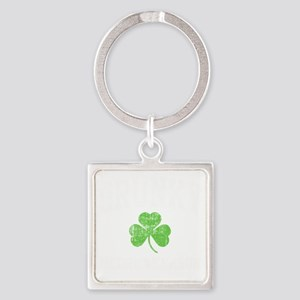 Drunky -blk Square Keychain