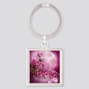 Pink Easter Rabbits Square Keychain