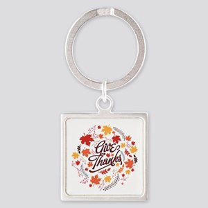 Give Thanks Square Keychain