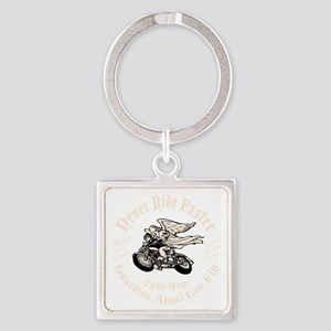 angel-fast-bw-DKT Square Keychain