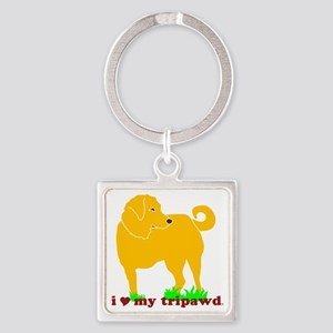 I Love My Tripawd Golden - Front L Square Keychain