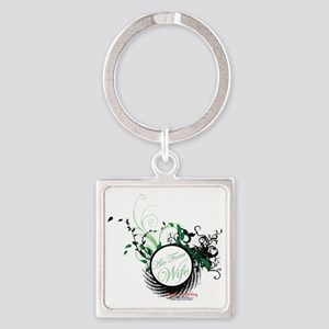 air force wife flowers green black Square Keychain