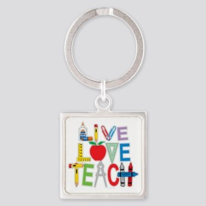Live-Love-Teach Square Keychain