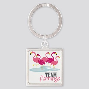 Team Flamingo Square Keychain