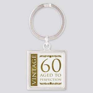 Fancy Vintage 60th Birthday Square Keychain
