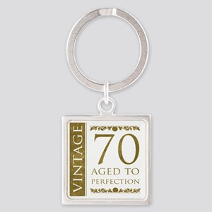 Fancy Vintage 70th Birthday Square Keychain