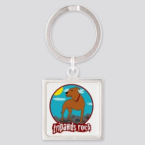 Tripawds Rock Front Leg Pit Bull Square Keychain