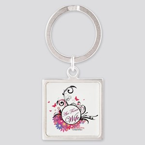 air force wife flowers pink black  Square Keychain