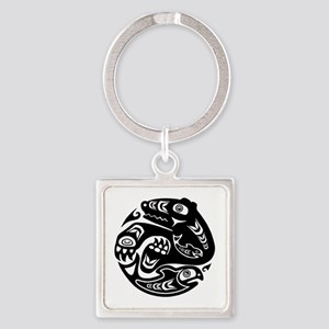 Native American Bear and Fish Square Keychain