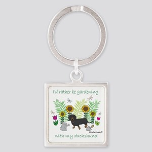 gardening with my dog Square Keychain