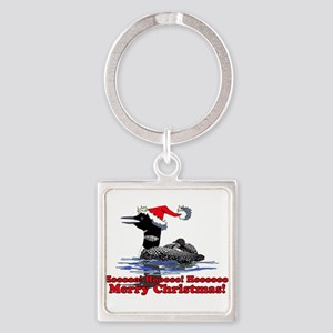 Christmas Loon Square Keychain
