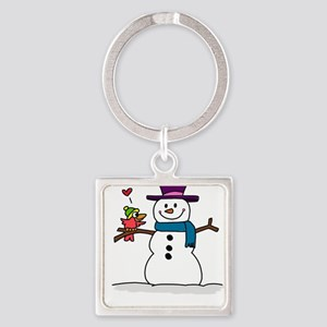 Snowman bird love christmas Keychains