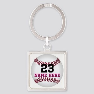 Baseball Player Name Number Square Keychain