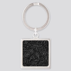 Black Flourish Square Keychain