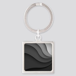 Black Abstract Square Keychain