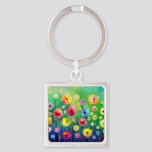 Watercolor Flowers Square Keychain