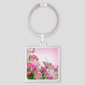 Butterfly Flowers Square Keychain
