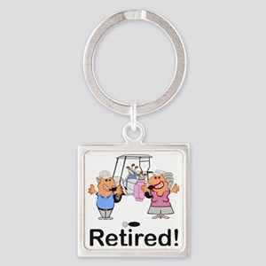 Funny Retirement Golf Couple Cartoon Ret Keychains