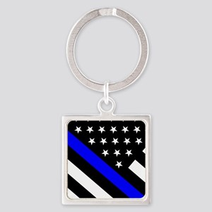 Police Flag: Thin Blue Line Square Keychain