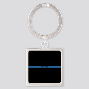 Retired Thin Blue Line Square Keychain