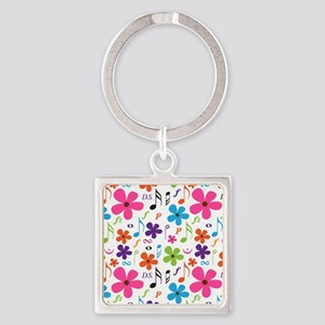 Music Flowered Design Square Keychain