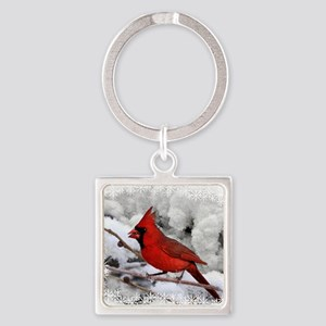 christmascardinal Square Keychain
