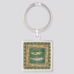 Fishing Cabin Lake Lodge Plaid Dec Square Keychain