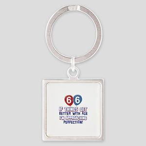 66 year Old Birthday Designs Square Keychain