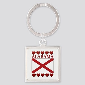 Alabama Flag Hearts Keychains
