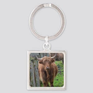 Highland Cow Standing by Highland  Square Keychain