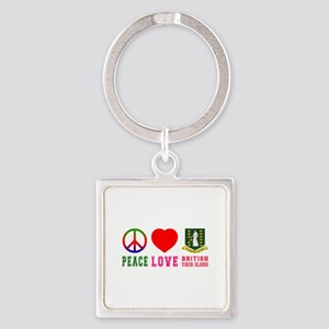 Peace Love British Virgin Islands Square Keychain
