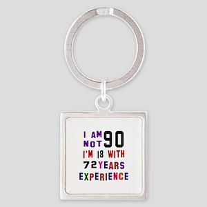 90 Birthday Designs Square Keychain