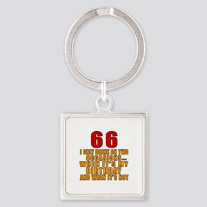 66 Birthday Designs Square Keychain