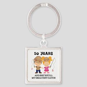 50th Anniversary Mens Fishing Square Keychain
