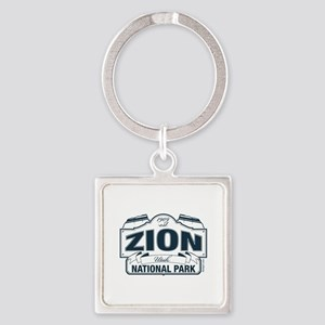 Zion National Park Blue Sign Square Keychain