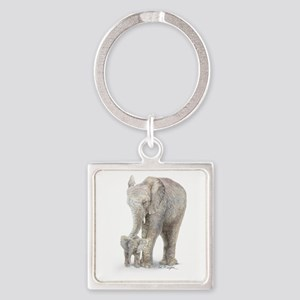mother and baby elephant Square Keychain