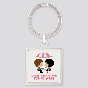 45th Anniversary Paris Couple Square Keychain
