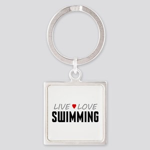 Live Love Swimming Square Keychain