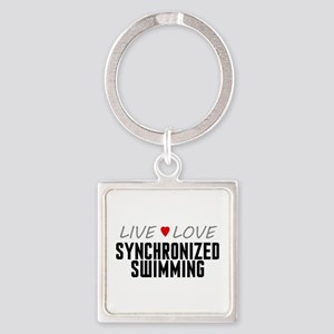 Live Love Synchronized Swimming Square Keychain