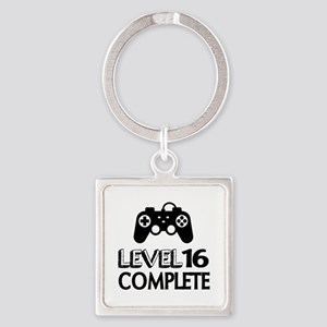 Level 16 Complete Birthday Designs Square Keychain