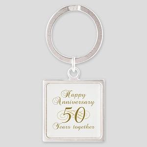 50th Anniversary (Gold Script) Square Keychain