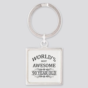 World's Most Awesome 90 Year Old Square Keychain