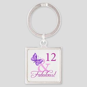 Fabulous 12th Birthday Square Keychain