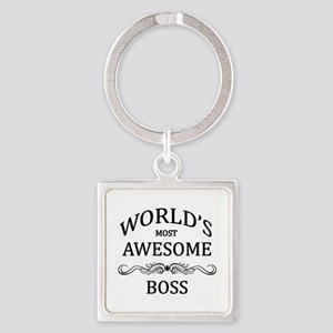 World's Most Awesome Boss Square Keychain