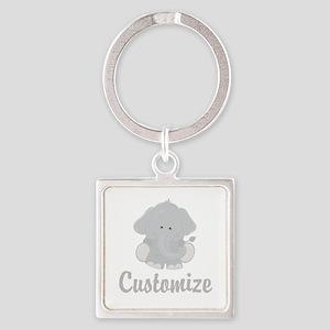 Baby Elephant Square Keychain